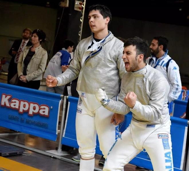 Vicenza 26.04.2015 Europeo U23 - Stefano Scepi conquista il bronzo con la squadra di sciabola maschile (foto Bizzi per Federscherma)