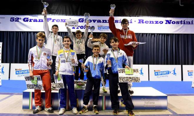 Riccione GPG 02.05.2015 Il podio della categoria Ragazzi di Fioretto maschile con Alessio Aresu e Viorel Fioravanti  (foto Bizzi per Federscherma)