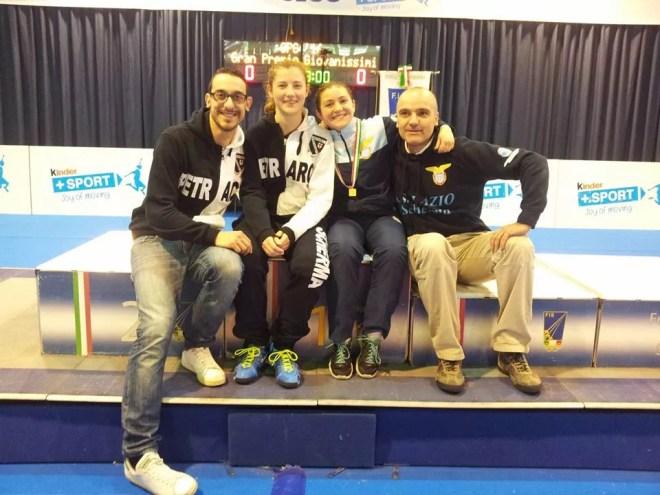 30.04.2016 Riccione GPG Martina Cotoloni e Vincenzo Castrucci con Stefano Di Muro e Benedetta Fusetti (foto Trifiletti per Federscherma)