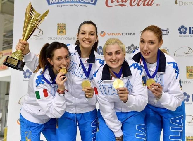 Plovdiv 04.05.2016 European Championship U23  Chiara Mormile, Michela Battiston, Martina Criscio e Sofia Ciaraglia (foto Bizzi per Federscherma)
