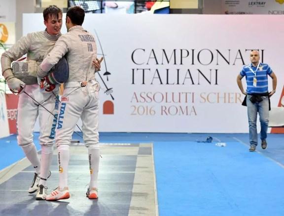 9.6.2016 Roma Campionati Italiani Assoluti - Sciabola maschile Giacomo Mignuzzi e Gigi Samele (foto Bizzi per Federscherma)