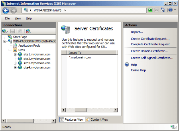 Install SSL Certificate into IIS 7