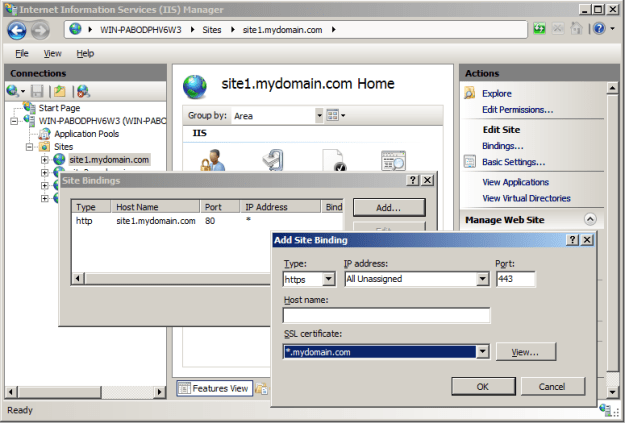 Bind the SSL Certificate to the first site on the IP address