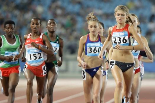 Maryjoy Mudyiravanji (third from left) competes in the 800m final at the Youth Olympic Games in Nanjing China earlier this year