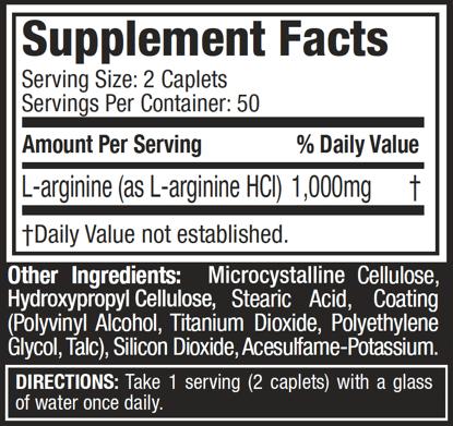 Platinum-100%-L-Arginine-supplement-facts
