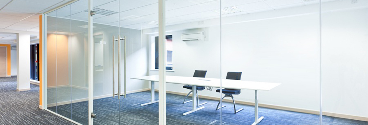 framed glass office partitioning