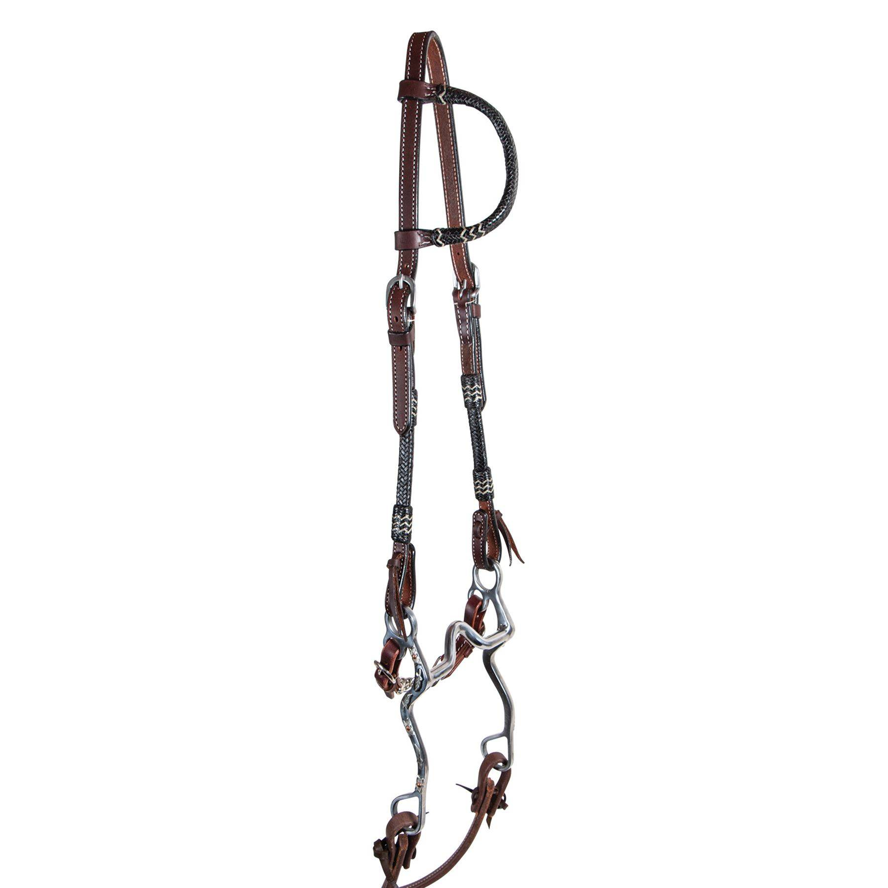 Double S Harness Leather One Ear Headstall With Black