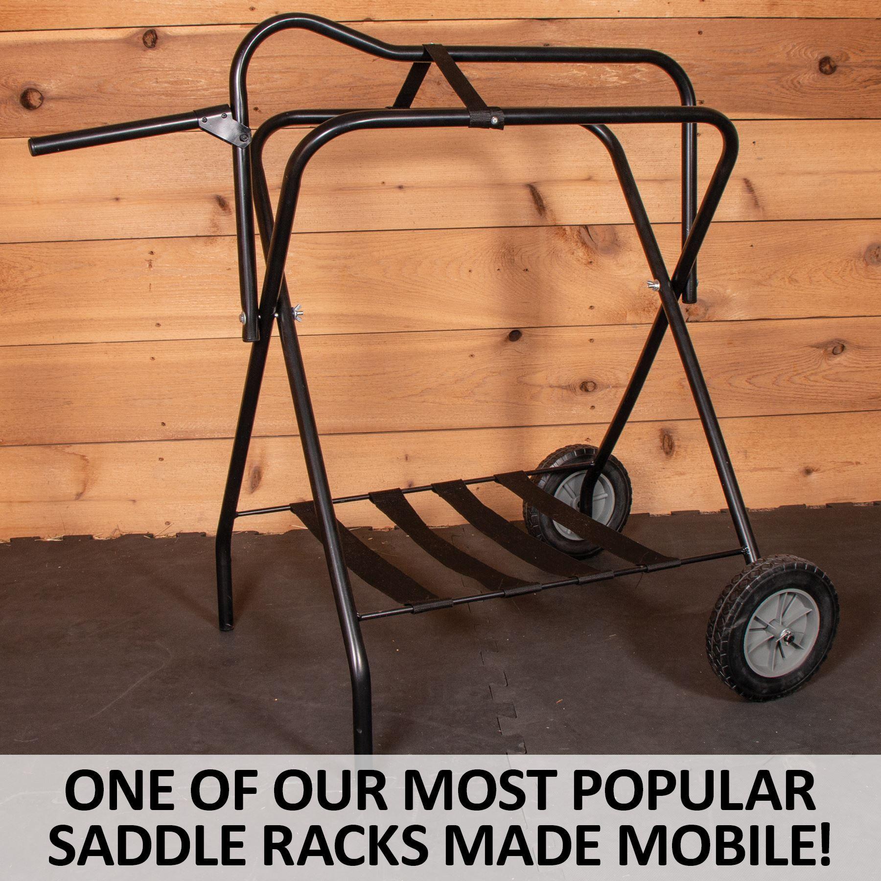 easy up folding saddle rack on wheels