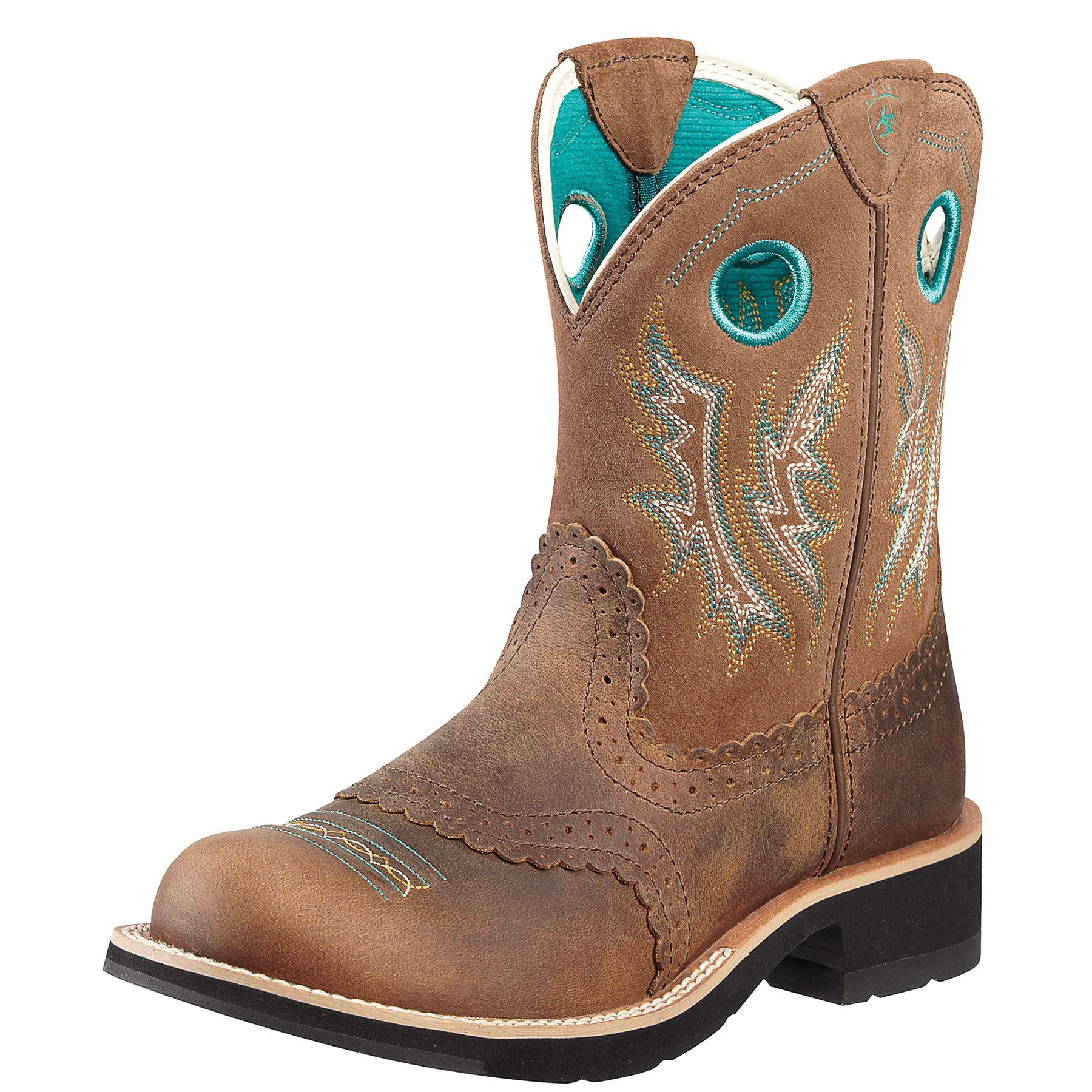 Ariat Ladies Fatbaby Cowgirl Boot Powder Brown Tan In