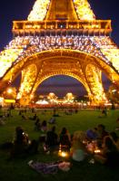 SSU students enjoy late night chocolate fondue under the lights of the Eiffel tower.