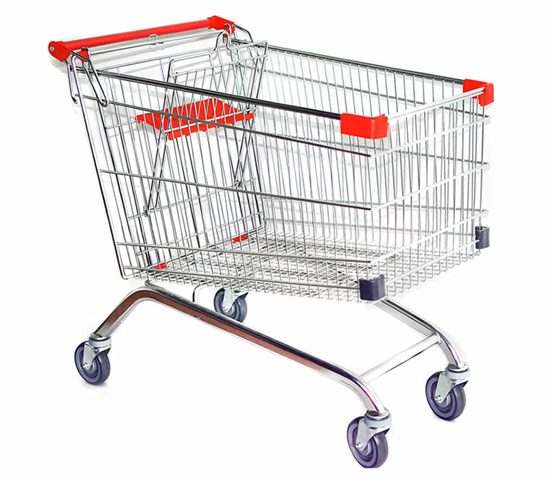 Stainless Steel Welded Mesh Cart For Shopping Storage