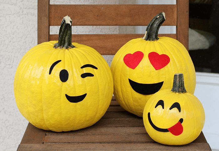 10 DIY No Carve Pumpkin Decorating Ideas for Fall   S S Blog emoji pumpkins