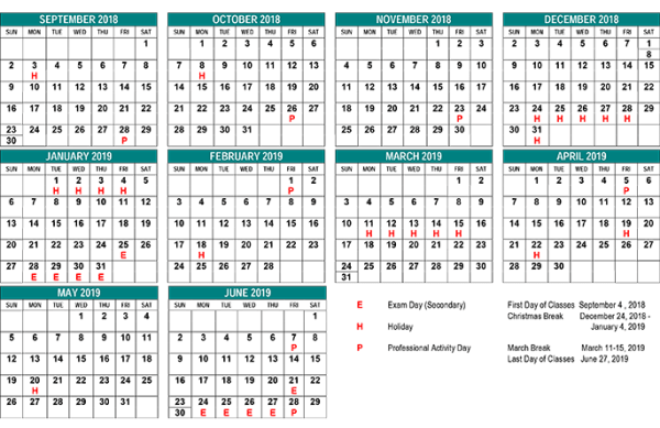 School Year Calendar - St. Clair CDS Board