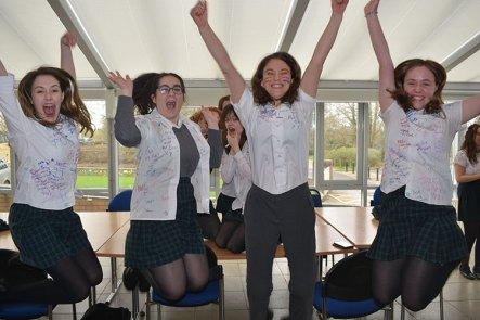 Year 11 students before lockdown, celebrating their time at Saint Gregory's despite such an abrupt end to their academic year.