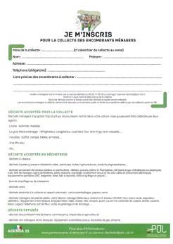 calendrier et inscription collecte encombrants 20171
