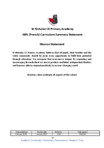 MFL Curriculum Summary