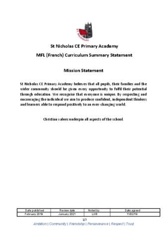 MFL Curriculum Summary