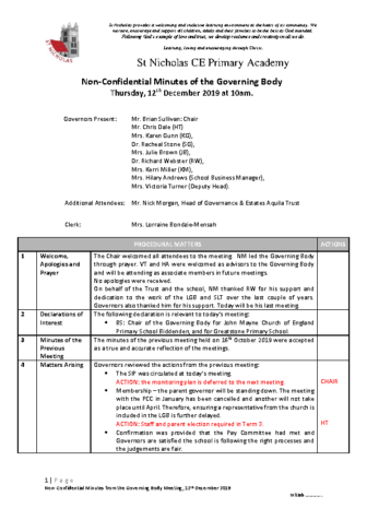 Governing Body Meeting Minutes 12/12/2019
