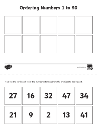 Ordering numbers 1 to 50