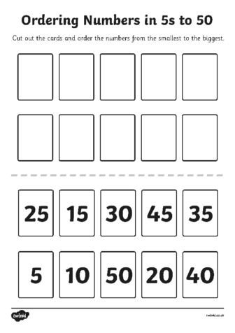 Ordering numbers in 5's to 50