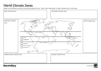 World climate zones activity sheet