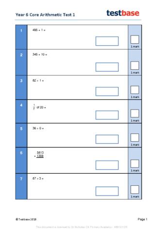 Y6_Core_Arithmetic_Test_1