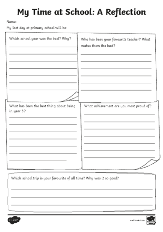 My Time at School Reflection Sheet