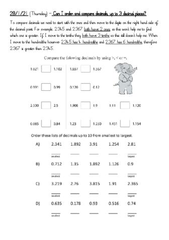 28.1.21 (Thursday) comparing decimals