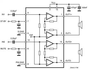 TDA7266  7 W  7 W dual bridge amplifier  STMicroelectronics