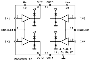L293D  PushPull Four Channel Drivers with Diodes