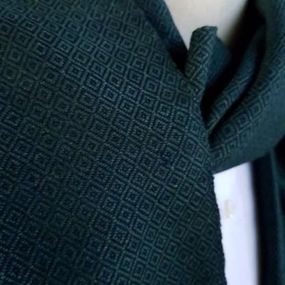 donkergroen sjaal met blauw patroon