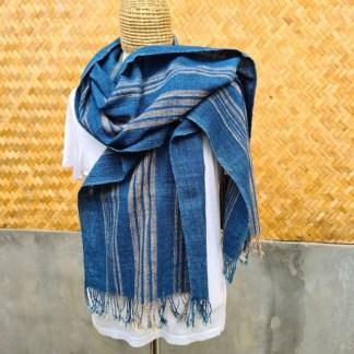 katoenen sjaal blauw met beige oranje streep