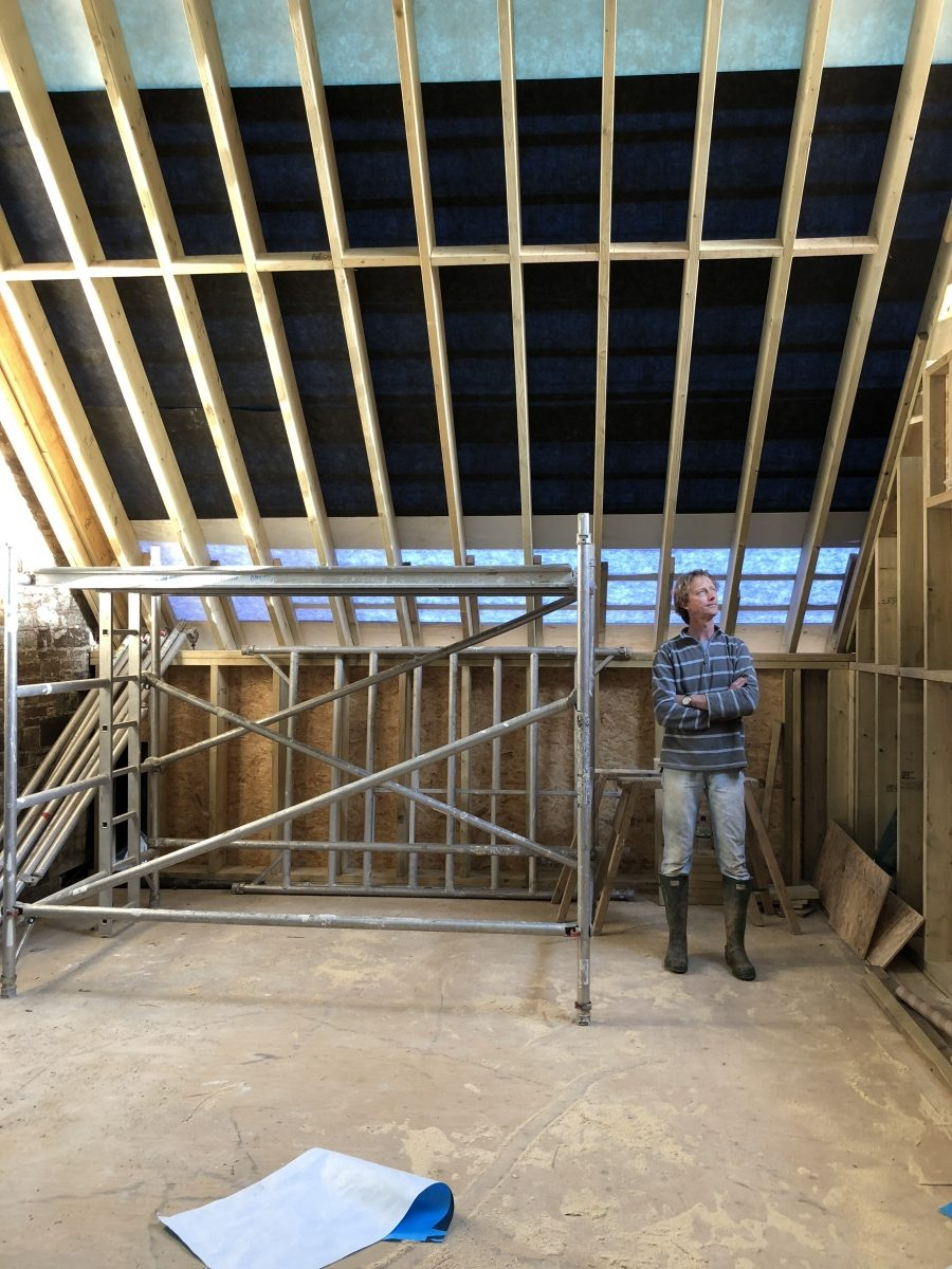 Dave in the framing room above the foyer