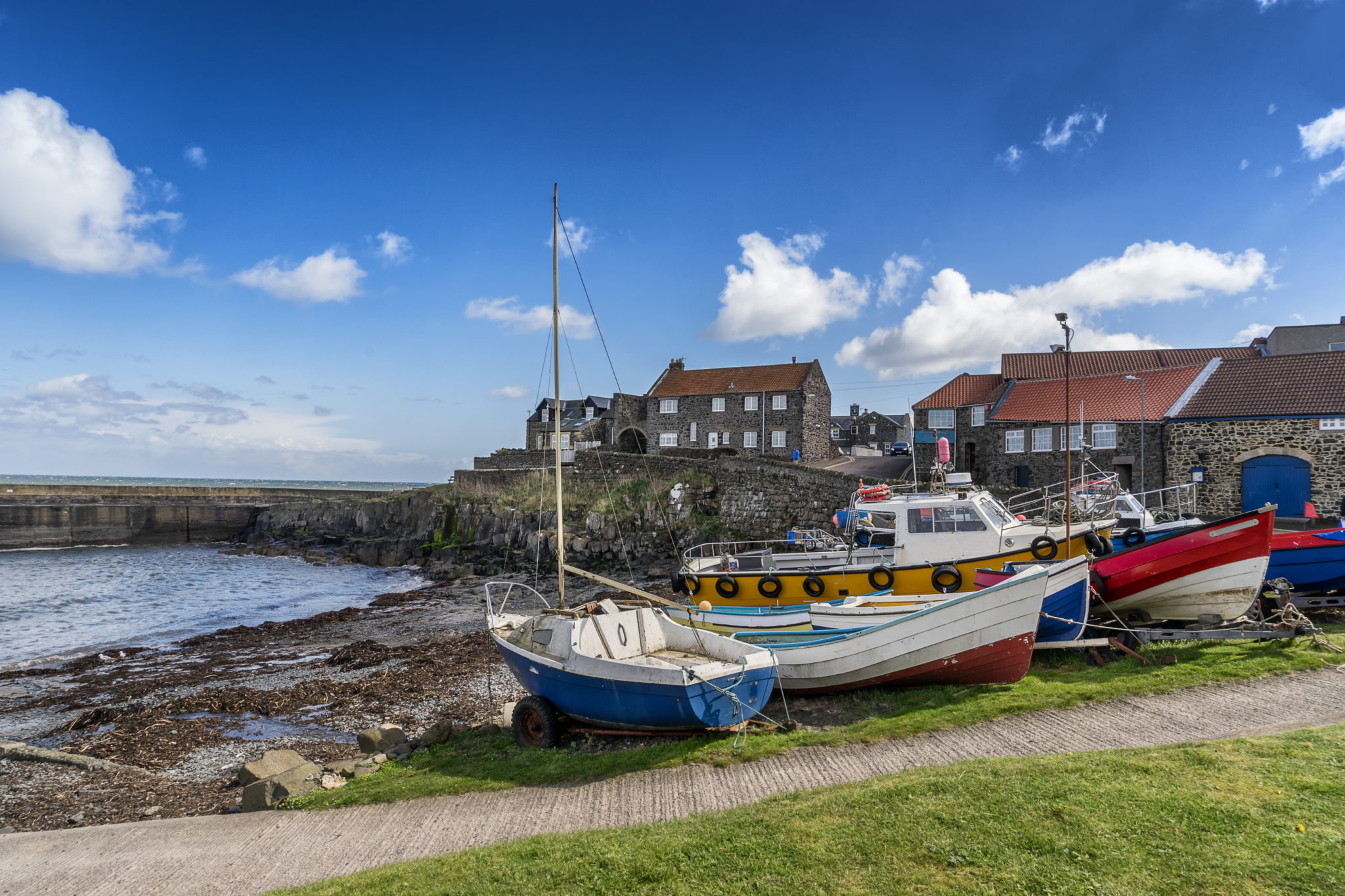 Craster harbour Northumberland coast, Stablewood Coastal Cottages