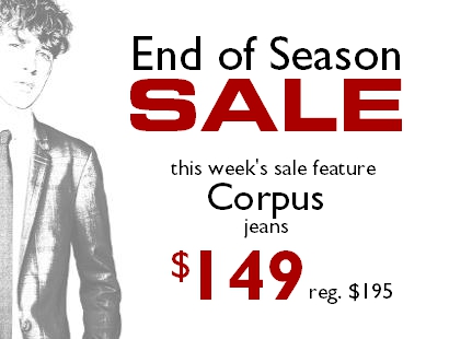 End of season sale Corpus Jeans Staccato Vancouver