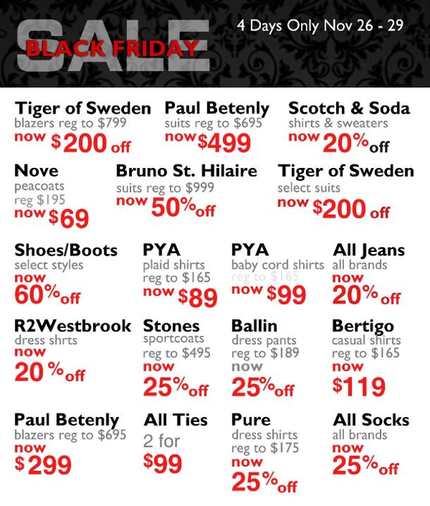 Black Friday Sale Staccato Menswear Vancouver