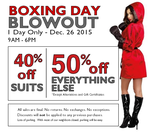 Boxing Day Blowout Sale Staccato Menswear Suits Weddings Special Occasions