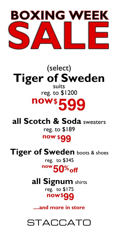 Boxing Week Sale Staccato Menswear Fashion Suits Special Occasions Weddings