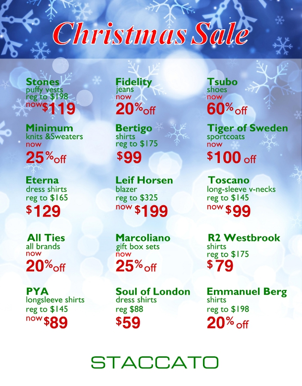 2016 Christmas Sale Staccato Menswear Vancouver
