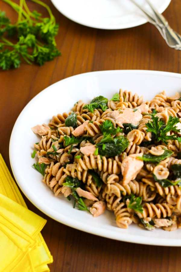 Bright and fresh, lemon salmon pasta!