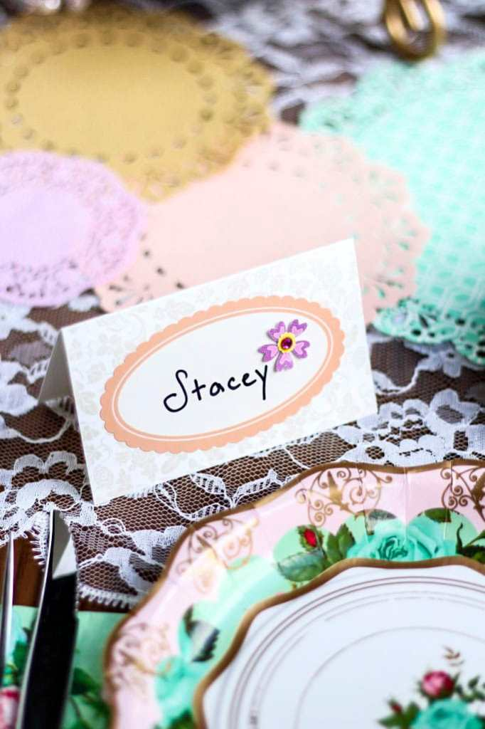 diy jeweled place cards stacey homemaker