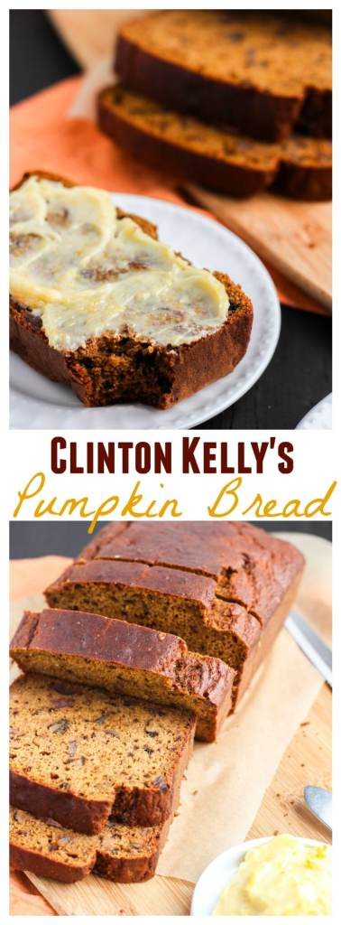 Pumpkin bread that's super moist, packed with sweet dates, and toasted walnuts. The orange honey butter it the perfect topping to accentuate the pumpkin flavor. I had to make it after I saw Clinton Kelly make it on The Chew last week!