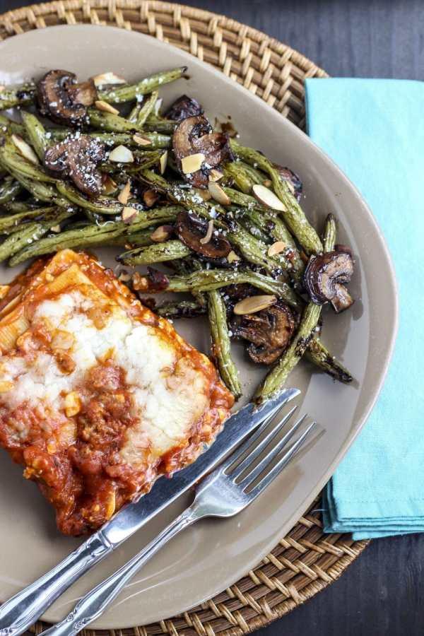 lasagna with green beans and mushrooms