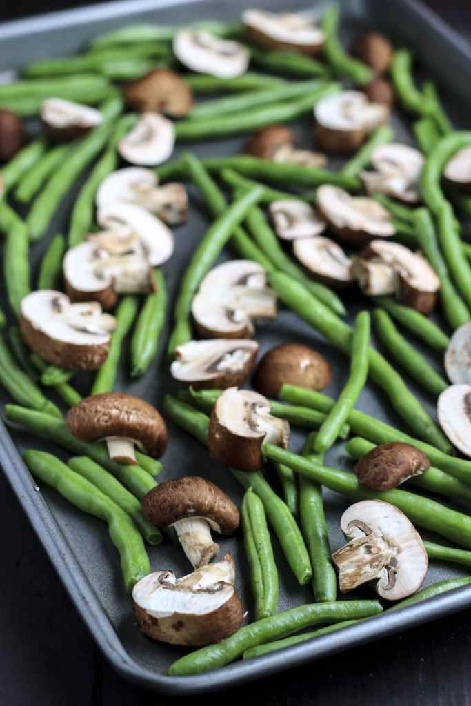 raw green beans and mushrooms