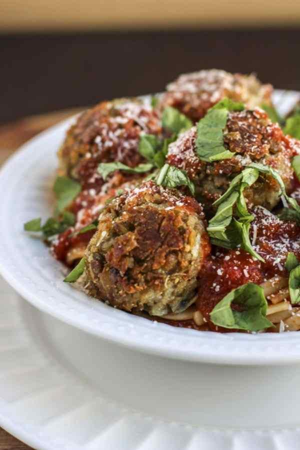 italian lentil quinoa balls with spaghetti