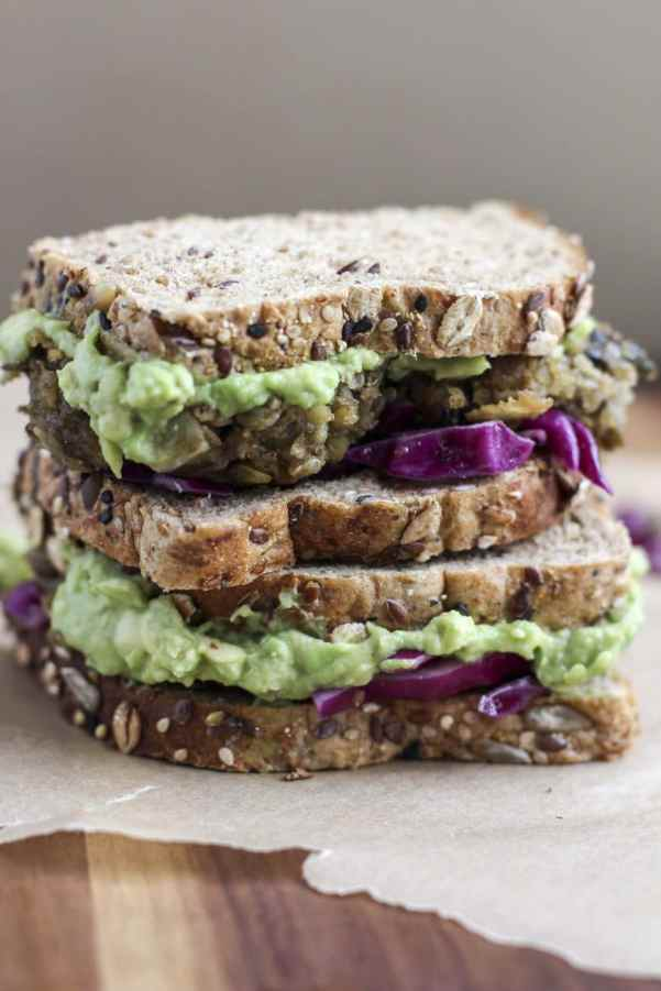 lentil quinoa ball sandwich with mashed avocado