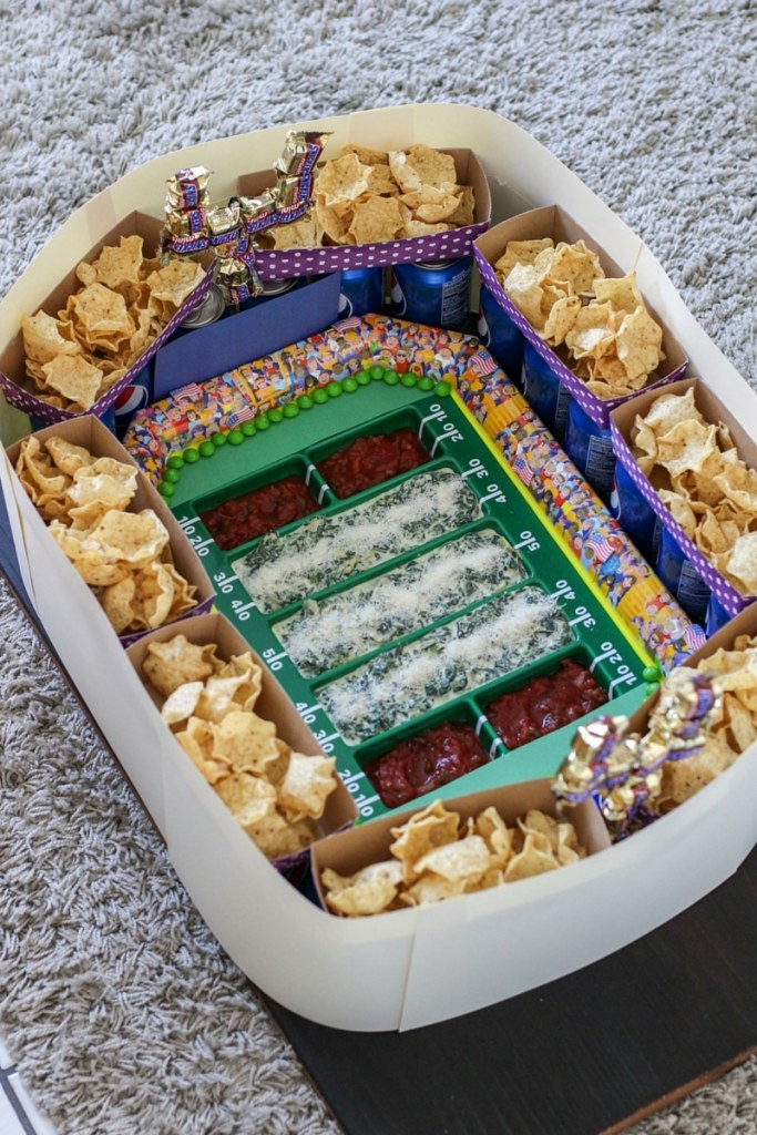 Follow my easy DIY tutorial to create your own ultimate snack stadium for the big game!