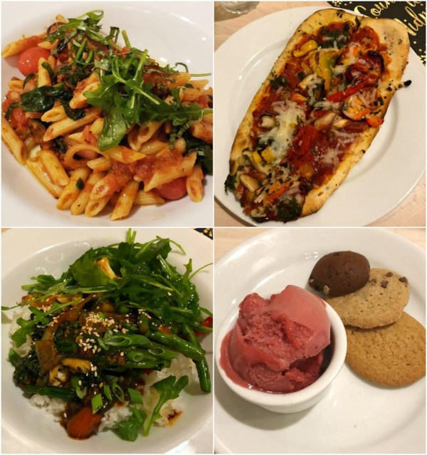 A collage of pictures that show four of the vegan food options (vegetable pasta, vegetable pizza, Mongolian stir fry, and sorbet with cookies) available at 1900 Park Fare.