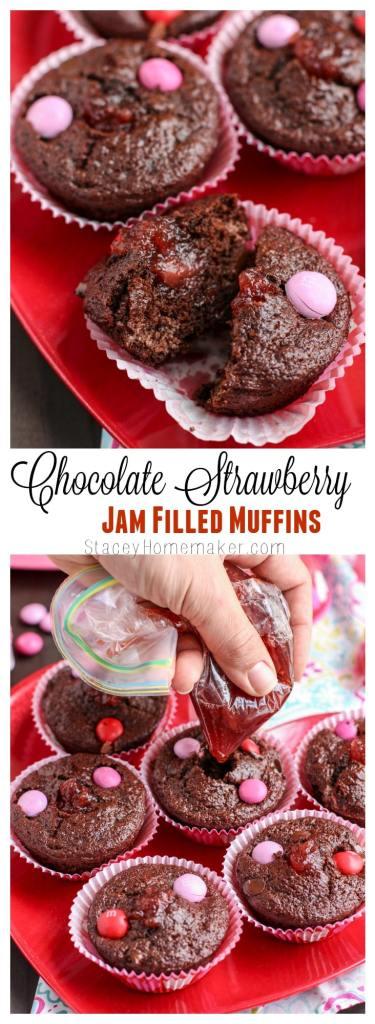 chocolate strawberry jam filled muffins