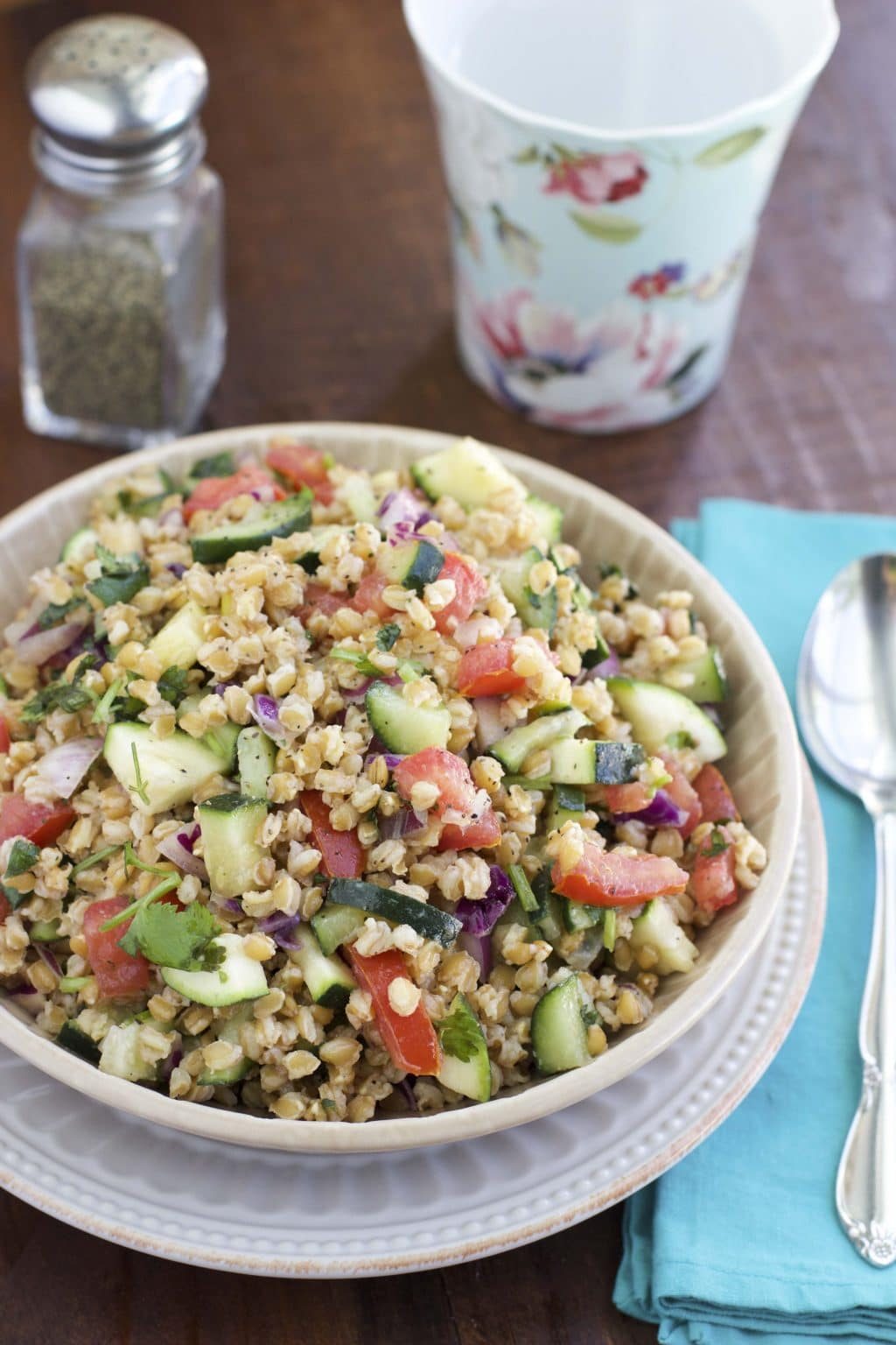 Simple Einkorn wheat berry salad is loaded with flavor and is ...